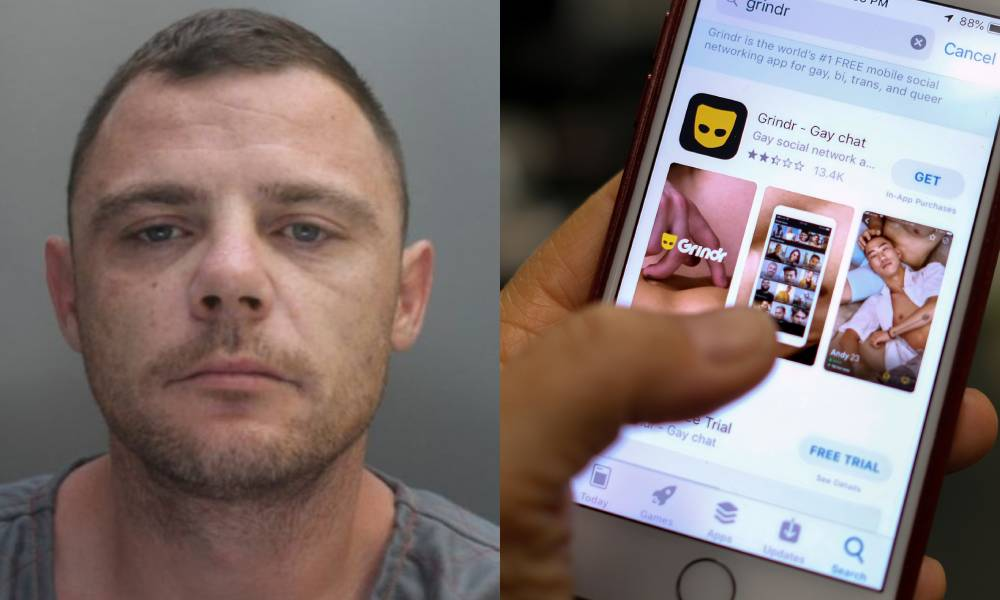 James Inglesby mugshot / iPhone screen on the Grindr download page