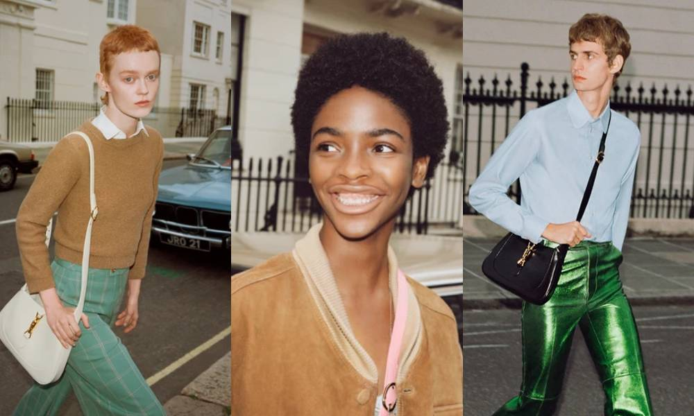 Three 'gender-neutral' Gucci models, all are thin and androgynous