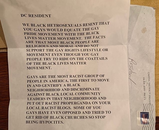 Pride flag letter: It attempts to stir up divisions between the LGBT+ community and BLM
