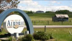 "The term ""LGBT virus"" was daubed on a shed visible from the highway at the entrance to the city of Airdrie"