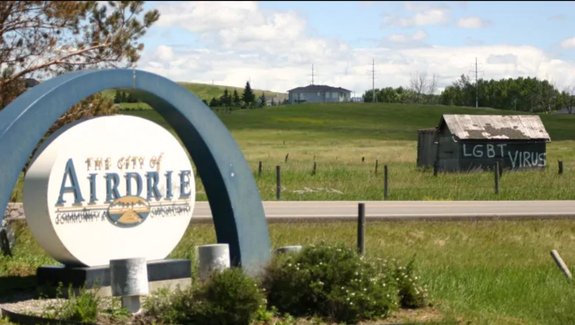"""The term """"LGBT virus"""" was daubed on a shed visible from the highway at the entrance to the city of Airdrie"""