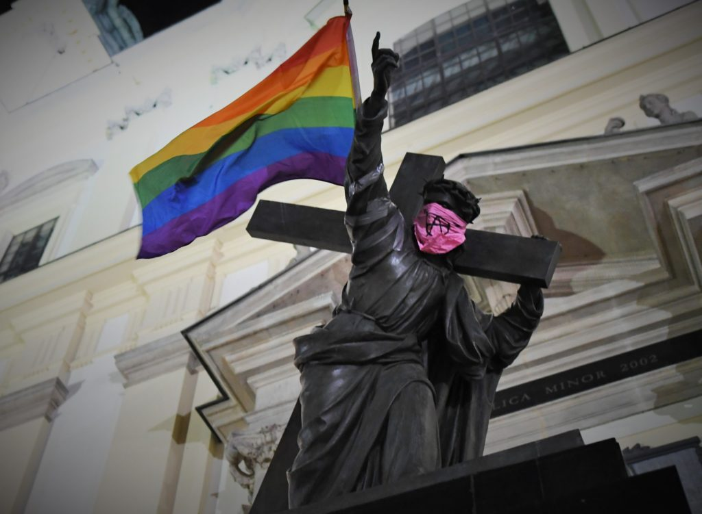 Poland Jesus lgbt flag and pink face mask