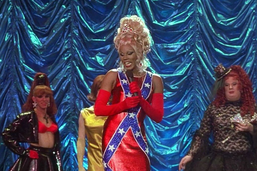 RuPaul in a Confederate flag dress