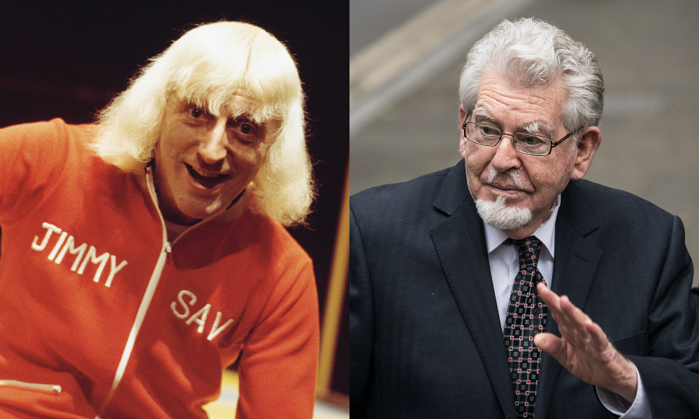 Jimmy Savile (L) and Rolf Harris. (Michael Putland/Getty Images/Carl Court/Getty Images)
