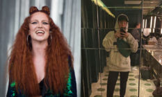 Jess Glynne, stung by a west London restaurant turning her away for her outfit (R) took to Instagram to publicly call staff out. (Samir Hussein/Redferns via Getty Images/Instagram)