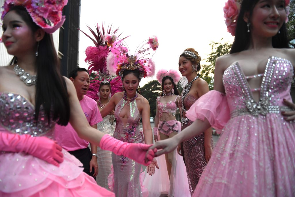 Women in pink dresses