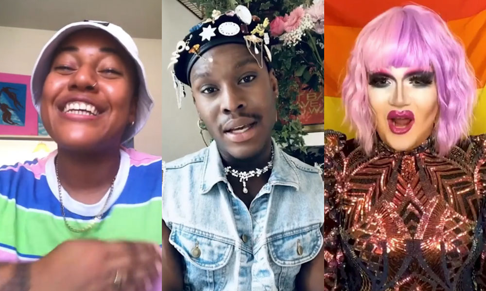 Tanya Compas, Otamere Guobadia and Electra Pain (L-R) taking part in the TikTok Pride campaign.