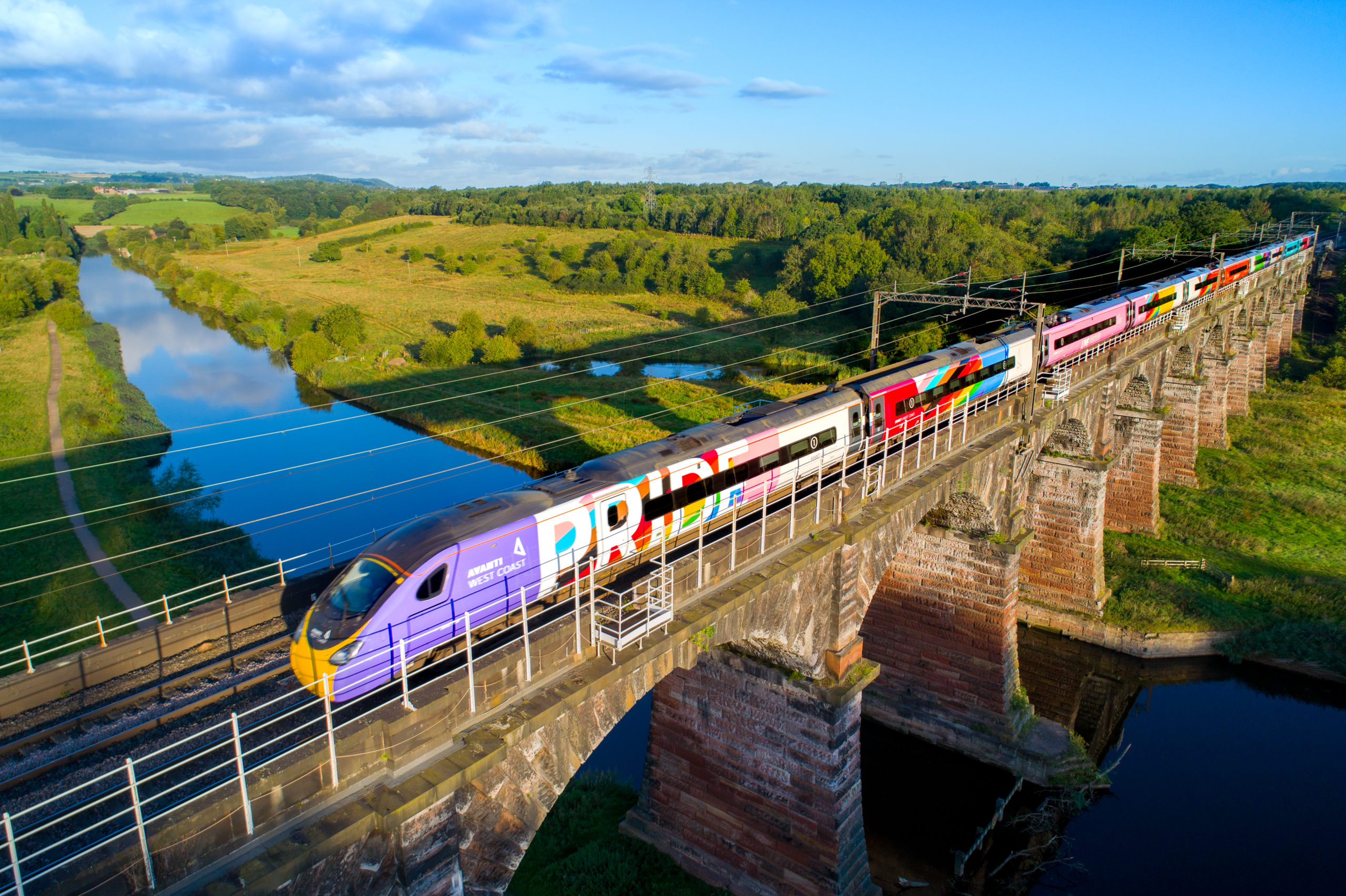 A 265m Pride flag flies proud on the side of the new 11-carriage Avanti West Coast Pride train ahead of its launch service
