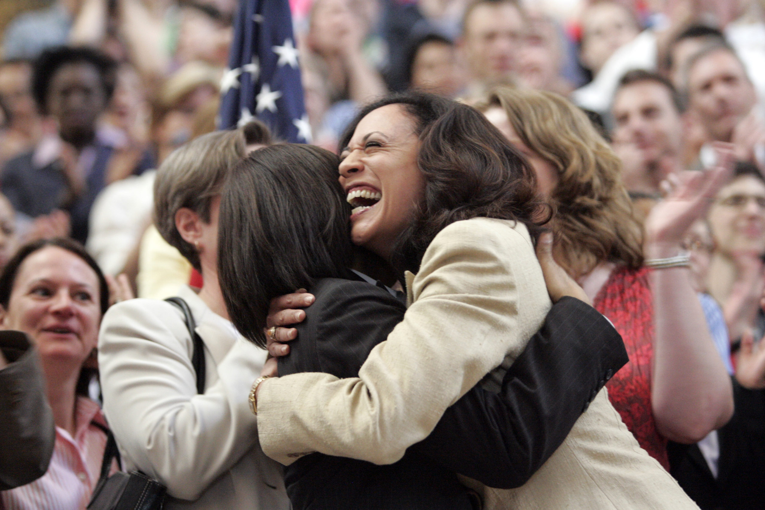 ACLU Executive Director for Northern California Maya Harris and San Francisco District Attorney Kamala Harris, celebrate a ruling in favour of equal marriage