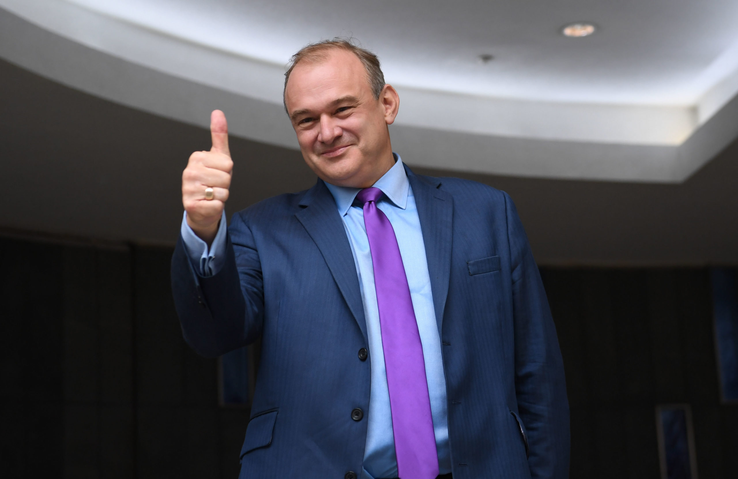 Ed Davey reacts after being elected as the leader of the Liberal Democrats on August 27, 2020. (Stefan Rousseau - Pool/Getty Images)