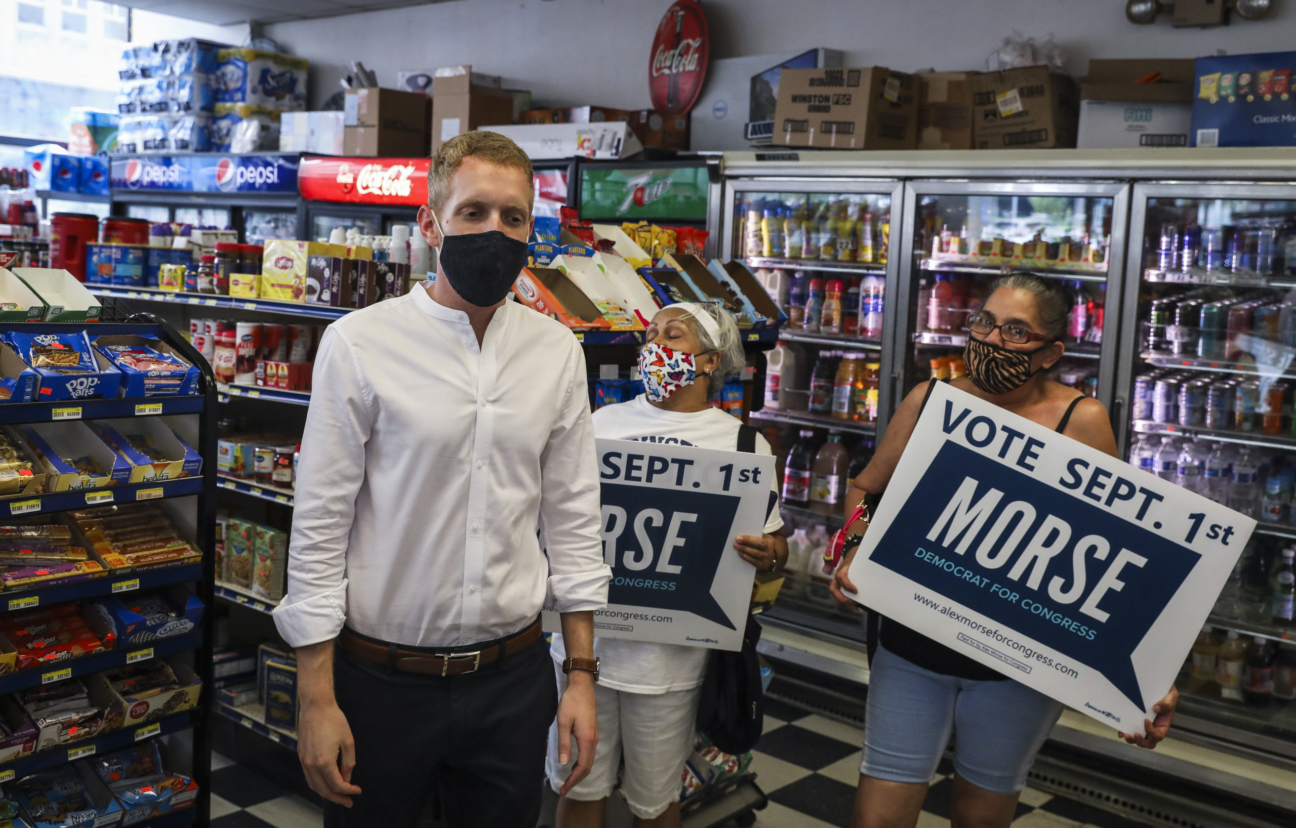 Mayor Alex Morse of Holyoke campaigns ahead of the September 1 primaries,