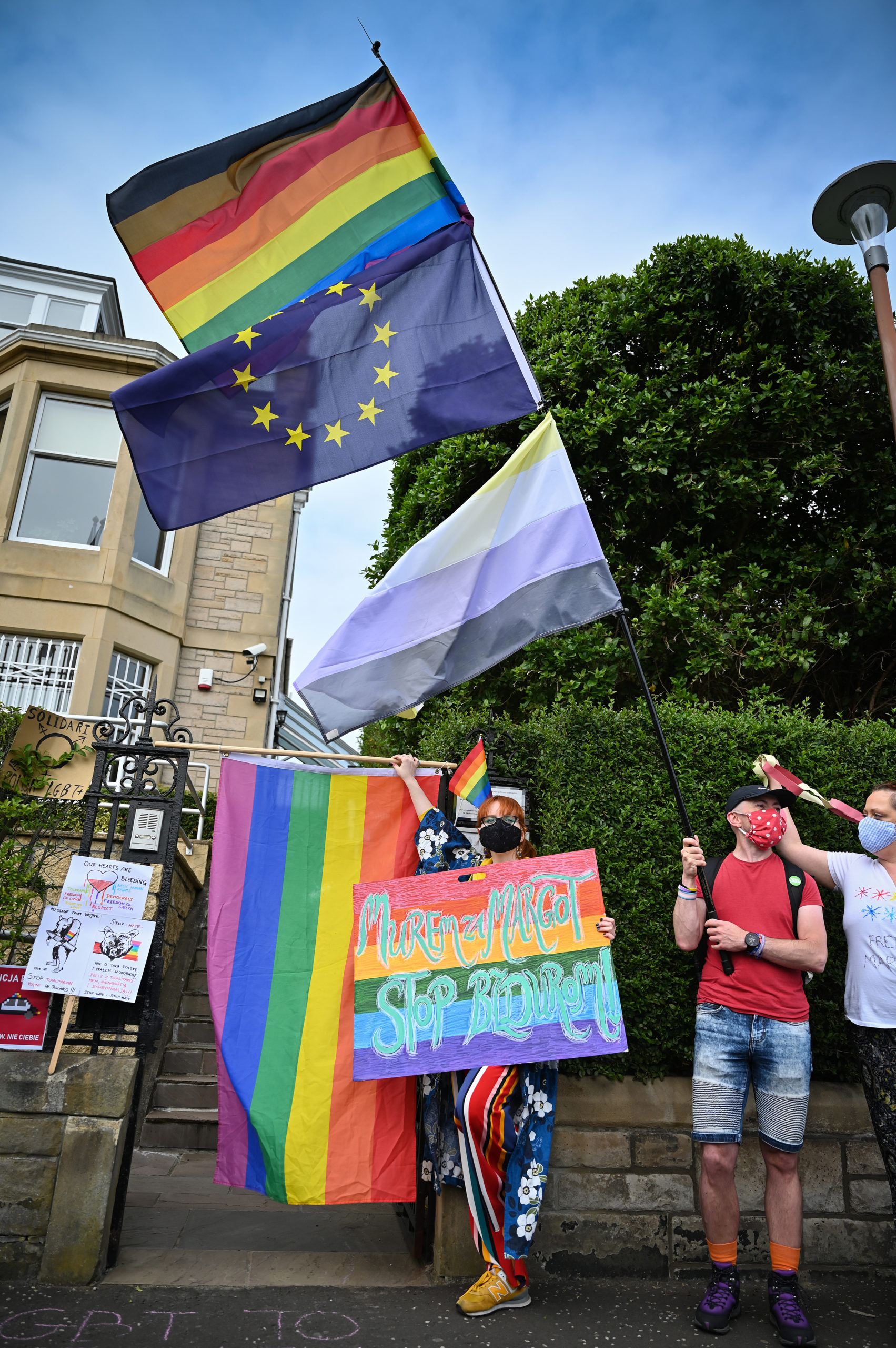 Edinburgh LGBT+ rights protest outside polish consulate