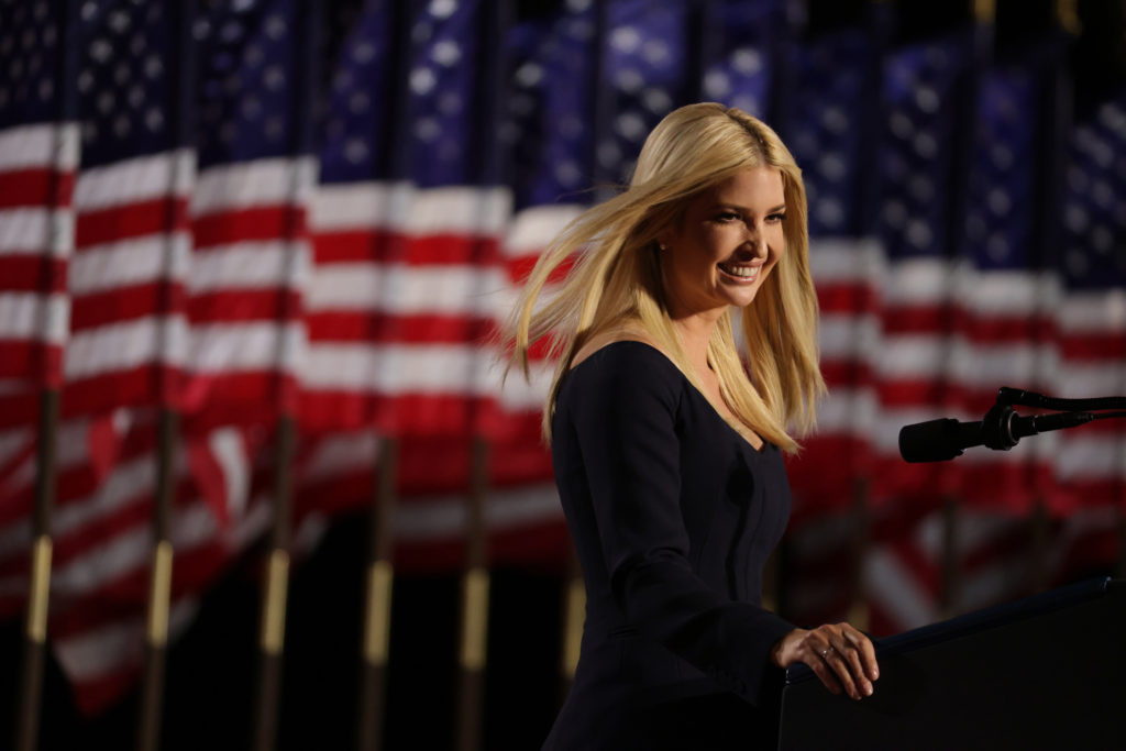 Ivanka Trump, daughter of US President Donald Trump and White House adviser, addresses attendees at the Republican presidential nomination. (Alex Wong/Getty Images)
