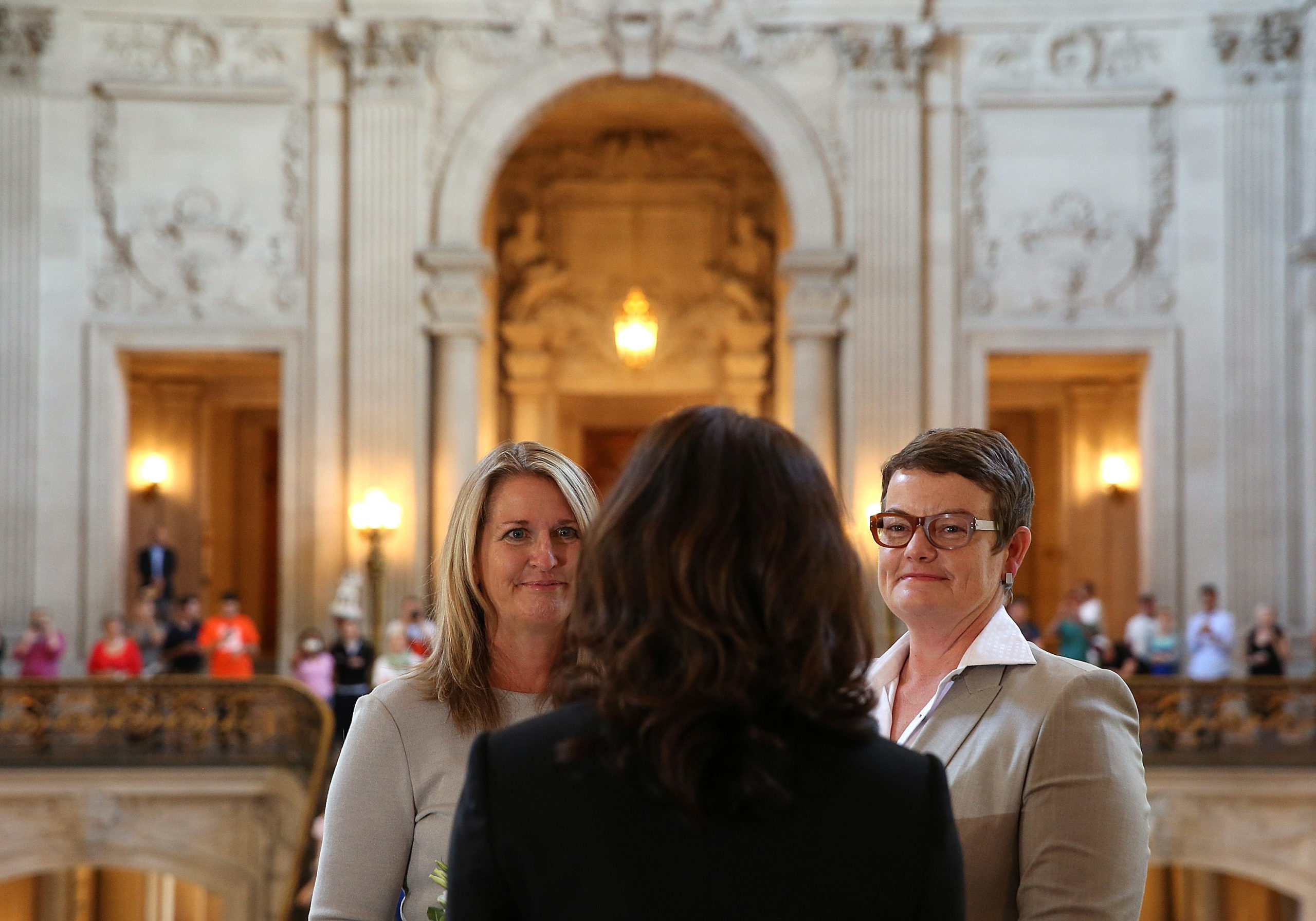 Same-sex couple Sandy Stier and Kris Perry are married at San Francisco City Hall by California Attorney General Kamala Harris on June 28, 2013
