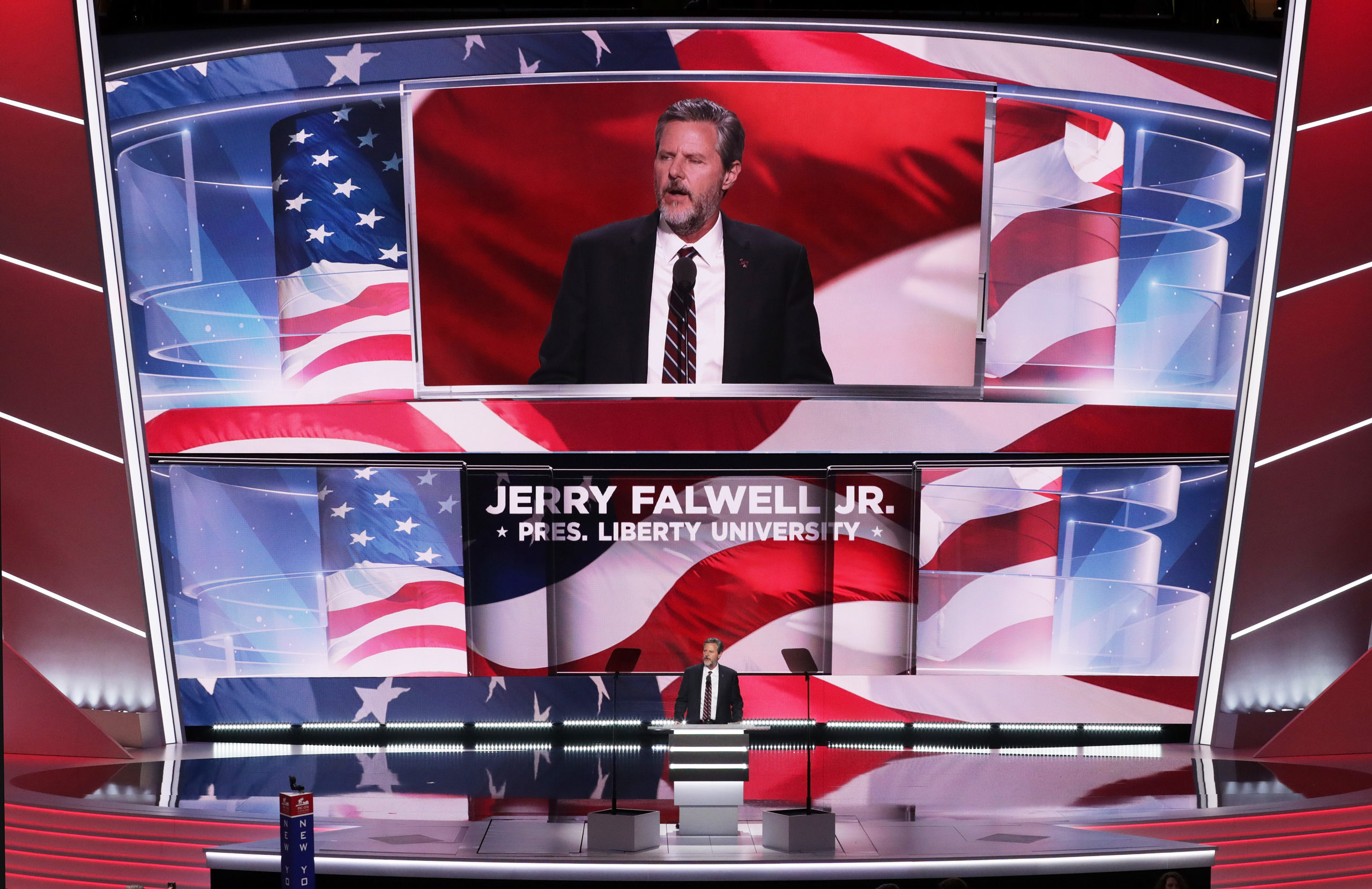 President of Liberty University, Jerry Falwell Jr, delivers a speech during the evening session on the fourth day of the Republican National Convention in 2016