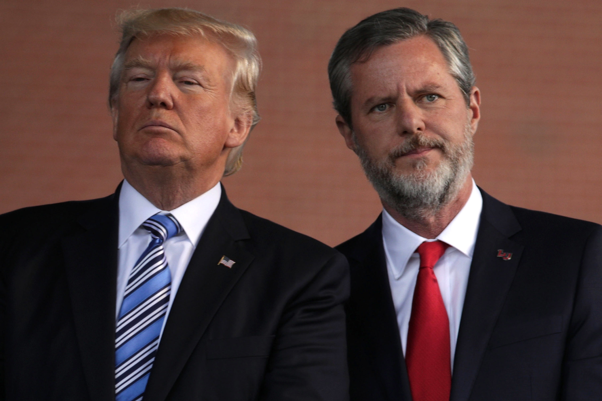 US President Donald Trump and Jerry Falwell