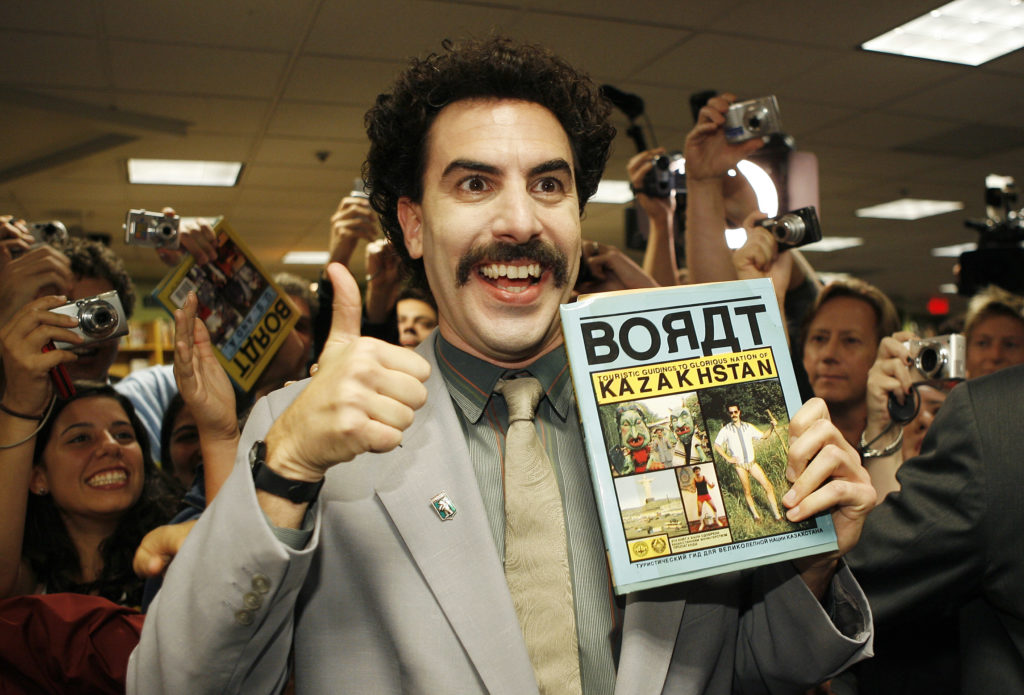 Borat Sagdiyev, played by actor Saha Baron Cohen. (Vince Bucci/Getty Images)
