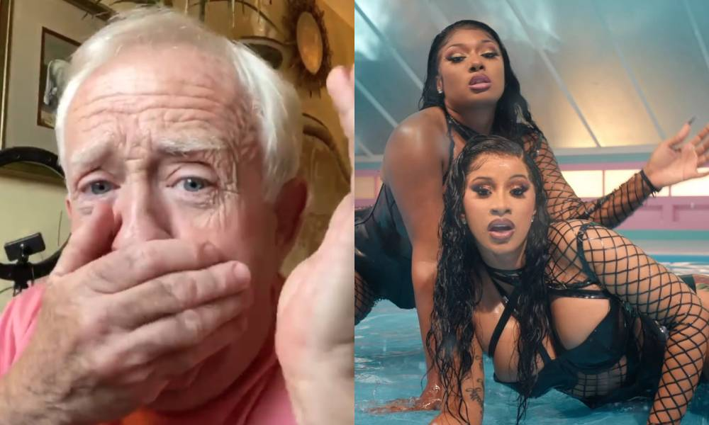 Leslie Jordan with his hand over his mouth / Cardi B and Megan Thee Stallion dripping with water