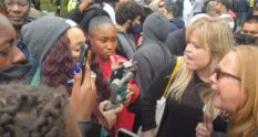 The confrontation between Black Lives Matter protesters and 'gender critical' activists grew ugly