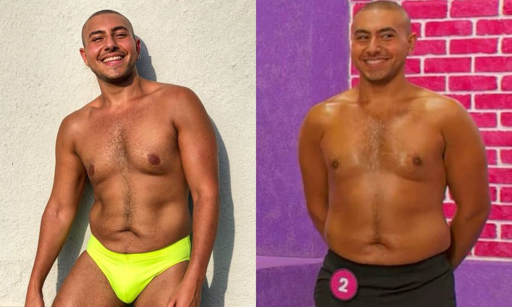 Mina Gerges smiling in a fluorescent yellow speedo / Mina in the werk room in a pair of black shorts