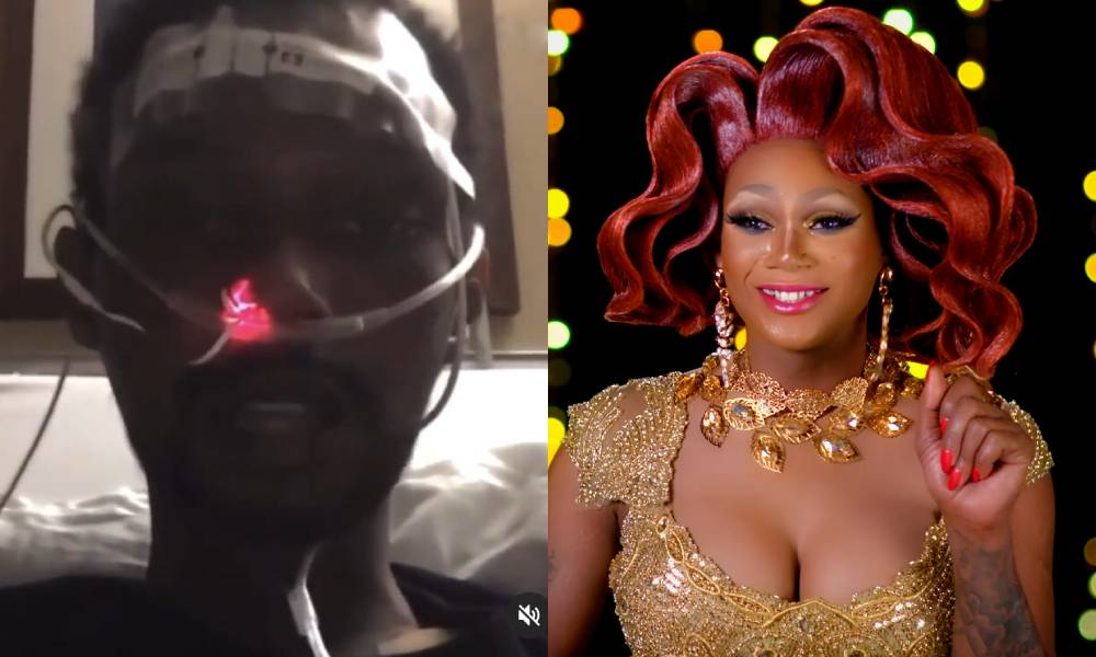 Chi Chi DeVayne with a feeding tube in her nose / Chi Chi in full drag