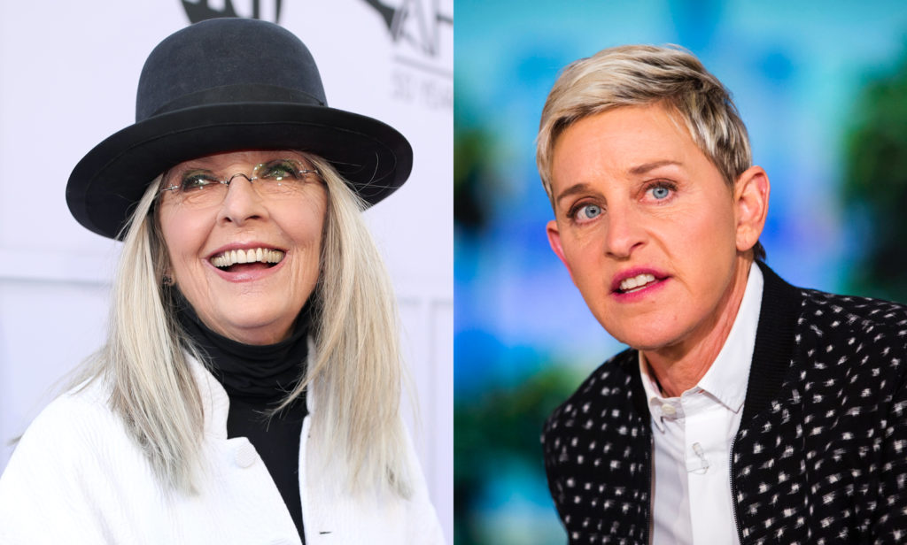 Diane Keaton (L) defended the increasingly embattled daytime talk show host Ellen DeGeneres. (Getty)