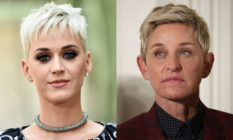 Katy Perry (L) enthusiastically threw her support to Ellen DeGeneres amid accusations of bullying. (Getty)