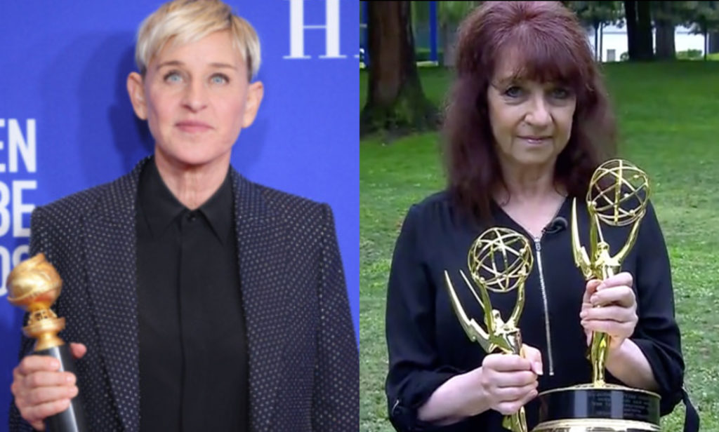 Ellen DeGeneres' (L) bubbly personality is just 'in front of the camera', claims former producer Hedda Muskat. (Daniele Venturelli/WireImag via Getty Images/Screen capture via Inside Edition)