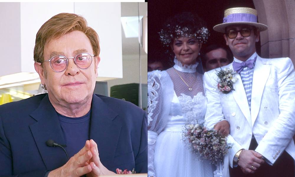 Elton John now, and on his 1984 wedding day with his wife