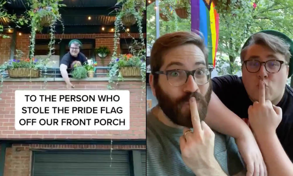 Gay couple share hilarious response to thugs who stole their Pride flag