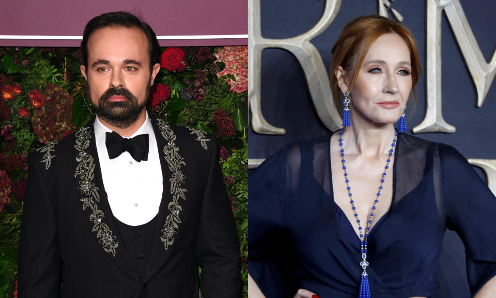 Evgeny Lebedev (L) and JK Rowling. (Stuart C. Wilson/TOLGA AKMEN/AFP via Getty)