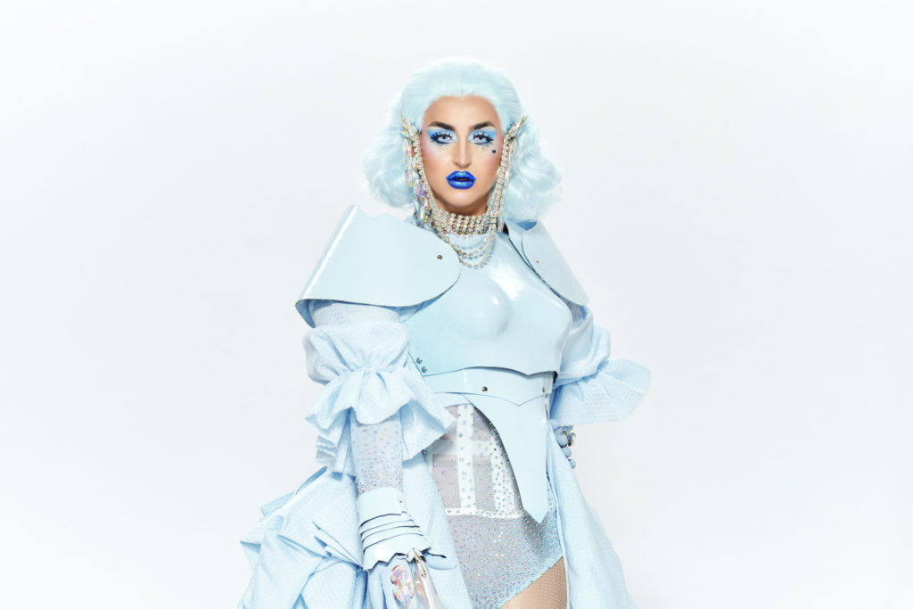 Ilona Verley wearing pastel blue from wig to toe