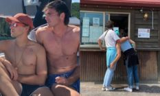 Left: Tomy Dorfman and Jacob Elordi sit on a boat wearing shorts. Right: Tommy leans into Jacob, his arm resting on his leg