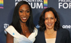 Angelica Ross and Kamala Harris