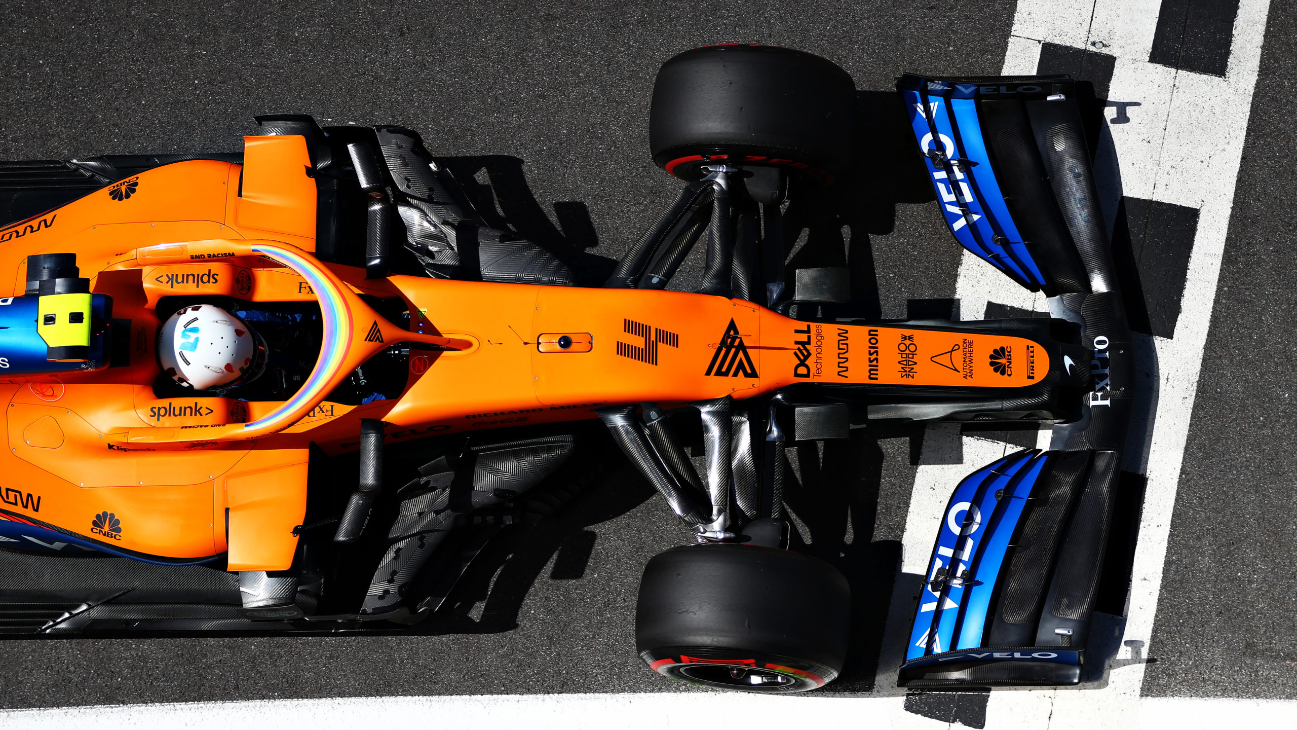 Lando Norris of Great Britain driving the McLaren F1 Team MCL35 Renault during qualifying for the F1 Grand Prix of Great Britain at Silverstone on August 1