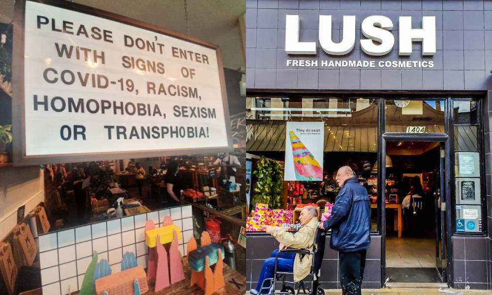Lush shop front / sign reading: Please do not enter our store with signs of Covid-19, Racism, homophobia, sexism or transphobia