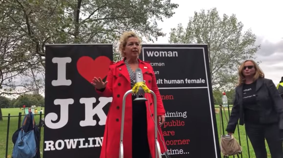 Kellie-Jay Keen-Minshull, known online as Posie Parker, argued with Black Lives Matter protesters after speaking under an 'I heart JK Rowling' banner