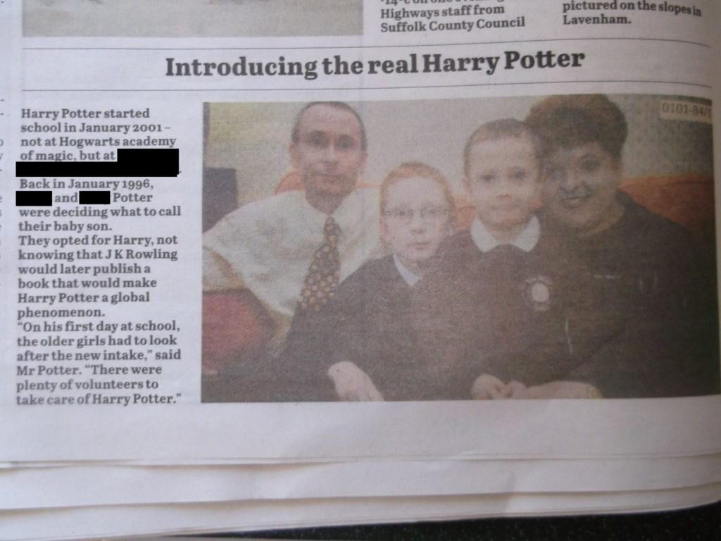 Ellen Potter said she was featured in news clippings as a child for once sharing a name with the young wizard. (Supplied)