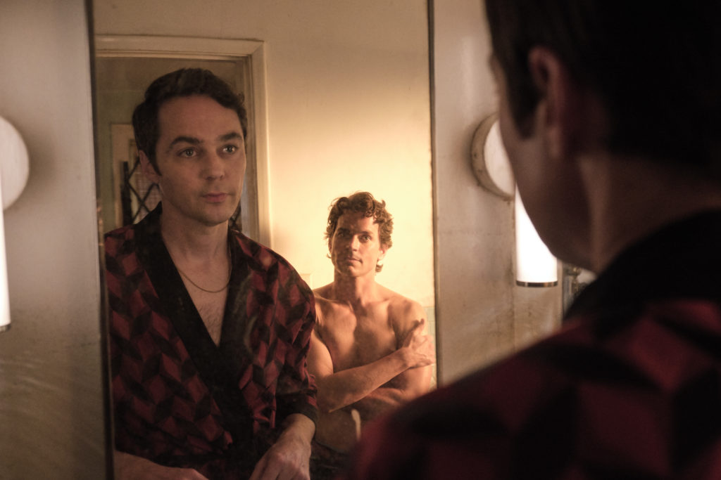 Jim Parsons as Michael and Matt Bomer as Donald in The Boys in the Band