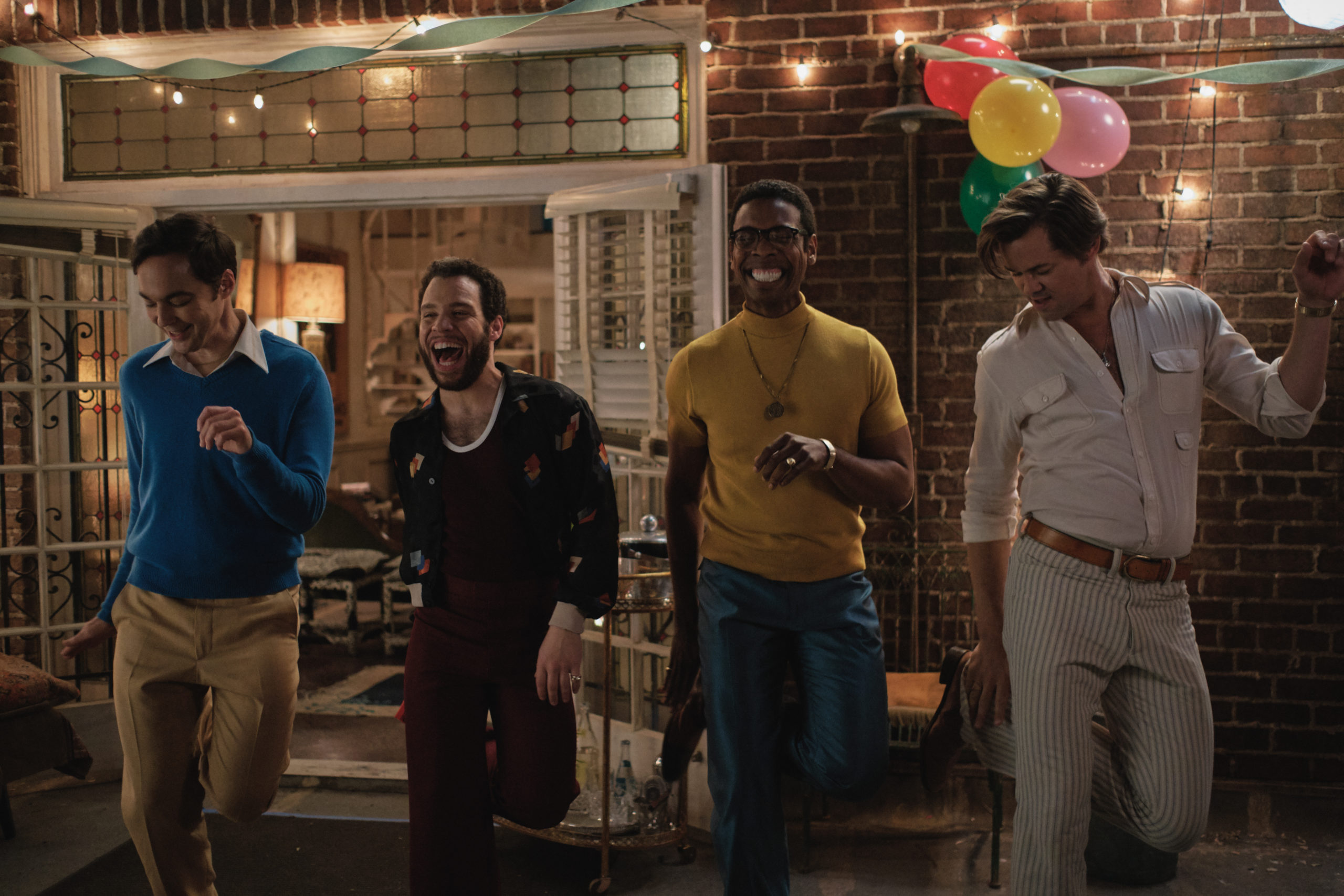 Jim Parsons as Michael, Robin De Jesus as Emory, Michael Benjamin Washington as Bernard and Andrew Rannells as Larry in The Boys in the Band