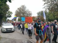 A queer rights protest at the border between Poland and Germany