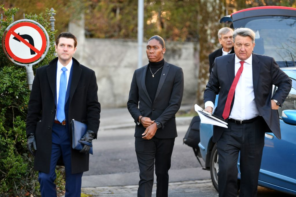 Caster Semenya (C) and her lawyer arrive for a landmark hearing at the Court of Arbitration for Sport. (HAROLD CUNNINGHAM/AFP via Getty Images)