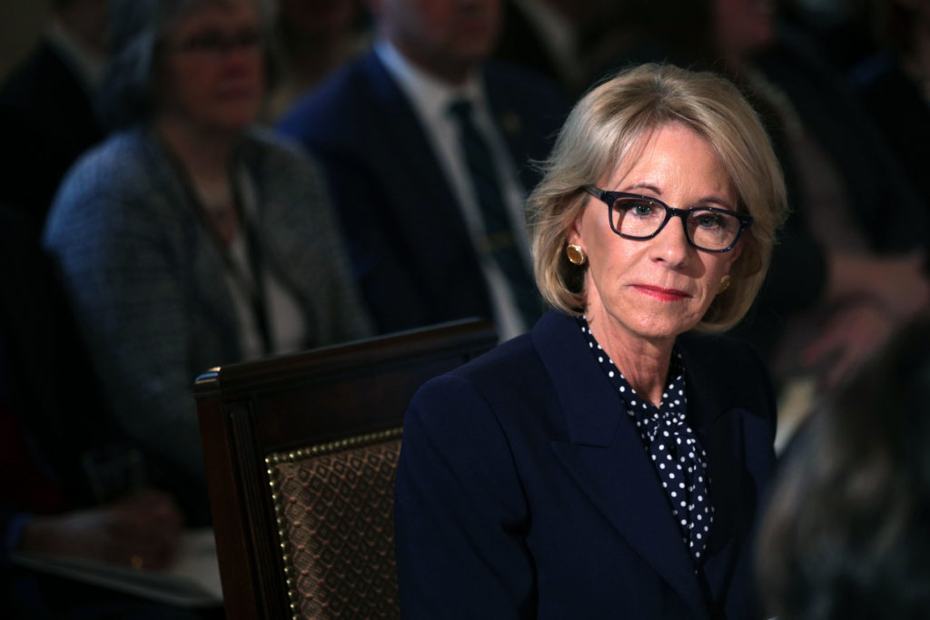 US Secretary of Education Betsy DeVos has been blasted by LGBT+ activists for her rollbacks of trans protections. (Alex Wong/Getty Images)