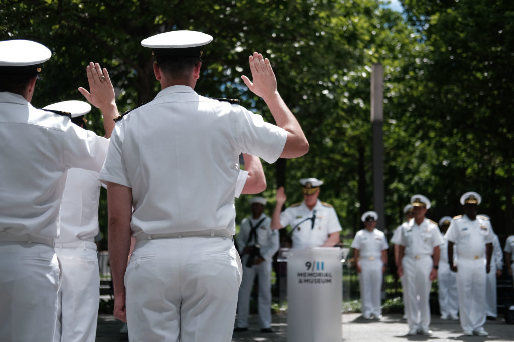 Navy officers parading