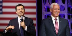 Democratic presidential candidate former South Bend, Indiana Mayor Pete Buttigieg, is role-playing as Mike Pence