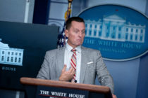 Advisor to the President on Serbia-Kosovo Richard Grenell speaks at a press conference on September 4