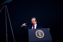 US President Donald Trump speaks during a campaign rally at the Minden-Tahoe airport in Minden, Nevada on September 12, 2020.
