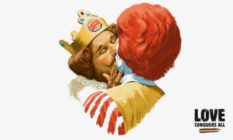 The Burger King mascot and Ronald McDonald kiss