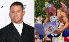Left: Channing Tatum wearing a suit. Right: Channing Tatum in an eye mask with eyelashes anda. crown attacked, an apron with no shirt on underneath, and fairy wings, holding his book while sitting next to his daughter, who wears a unicorn onesie.