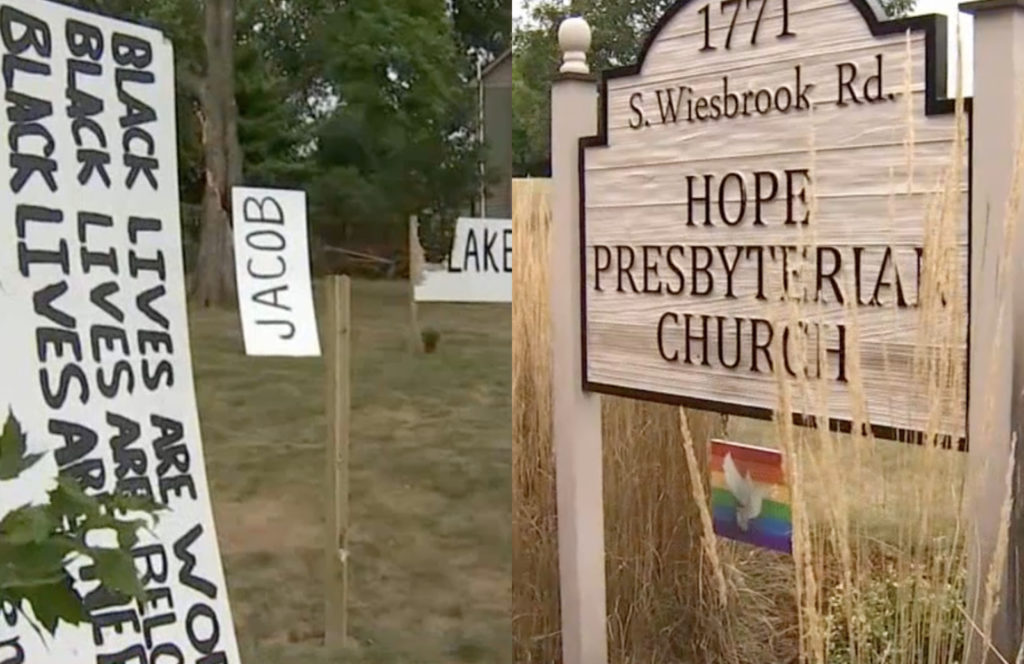 Hope Presbyterian Church leaders and members were shocked to see the signs had been vandalised within hours of being installed. (Screen captures via NBC Chicago)